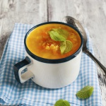 Red lentil, sweet potato, and coconut soup